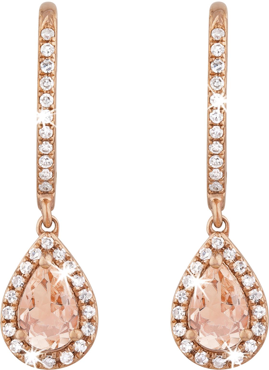 9ct Rose Gold Pear Shape Morganite And Diamond Drop Earrings Diamond Jewellery International